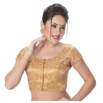 Brocade Gold Princess Cut Padded Short Sleeves blouse