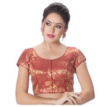 Brocade Maroon Princess Cut Padded Short Sleeves blouse
