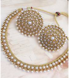 Gold Plated Stylish White Stone Studded Choker Necklace Jewellery Set For Women
