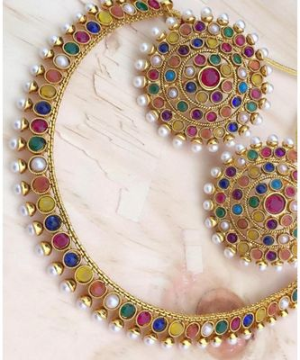 Gold Plated Stylish Multicolour Stone Studded Choker Necklace Jewellery Set For Women