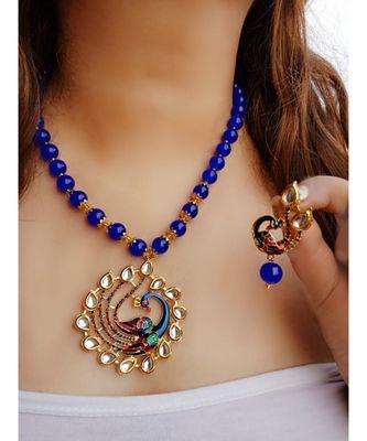 Blue Kundan Peacock  Pendal Necklace  Sets