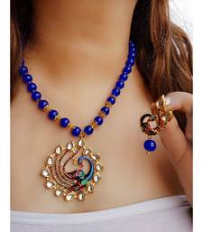 Blue Kundan Peacock  Pendal Necklace  Sets