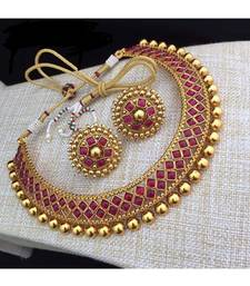 Red Stone Studded Metallic Necklace Sets