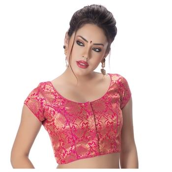 Brocade Rani Princess Cut Padded Short Sleeves blouse