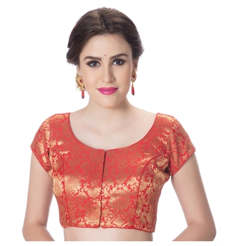 Brocade Red Princess Cut Padded Short Sleeves blouse