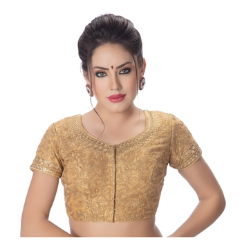 Emboridered Gold Round Neck Short Sleeves Princess Cut Padded blouse