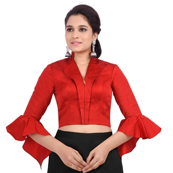 Red Art Silk Jacket Style 3/4Th Bell Sleeves Full Zipper Princess Cut Padded blouse