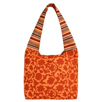 Florid Orange & Multi Canvas Hobo Bag