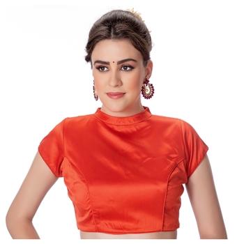 Rust Desginer High Neck Dupion Silk Short Sleeves Princess Cut Padded Back Open Full Zipper Readymade Saree Blouse