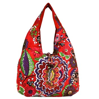 Florid Red & Multi Canvas Hobo Bag