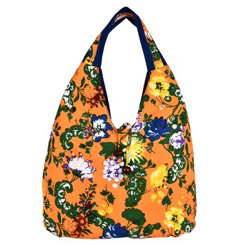 Florid Orange & Multi Canvas Hobo Bag