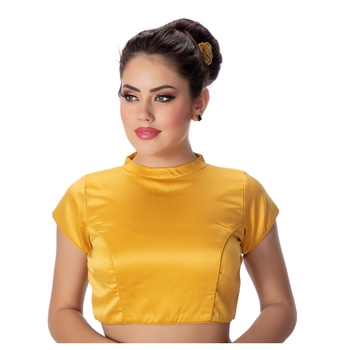 Yellow Desginer High Neck Dupion Silk Short Sleeves Princess Cut Padded Back Open Full Zipper Readymade Saree Blouse
