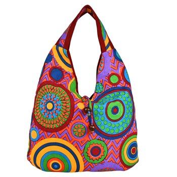 Florid Multicolor Canvas Hobo Bag