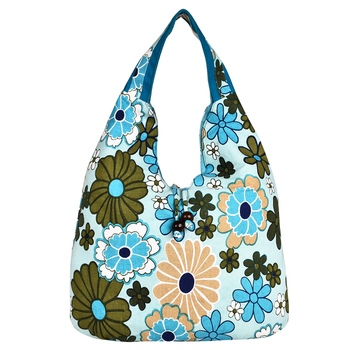 Florid Blue & Multi Canvas Hobo Bag