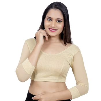 Light Gold Lycra Stretchable 3/4Th Net Sleeves blouse