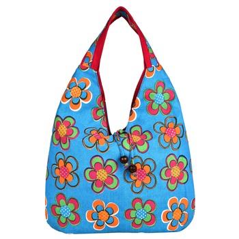 Florid Blue & Multi Canvas Hobo Bag