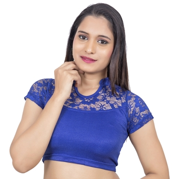 blue Lycra Stretchable Stand Coller Short Net Sleeves blouse