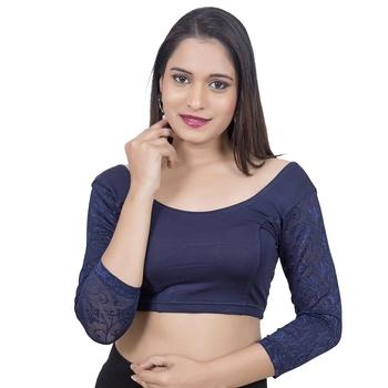 Navy blue 3/4Th Net Sleeves Lycra Princess Cut Stretchable blouse