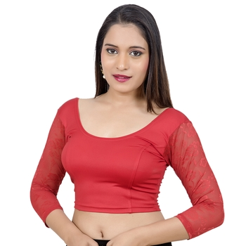 Red 3/4Th Net Sleeves Lycra Princess Cut Stretchable blouse