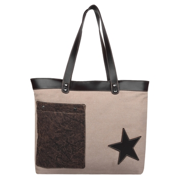 Starry Beige Canvas Shoulder Bag