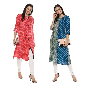multicolor cotton and rayon combo printed kurti