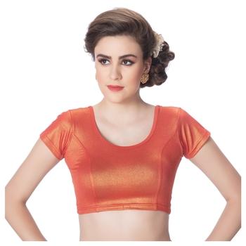 Short Sleeves Lycra Rust Princess Cut Stretchable blouse
