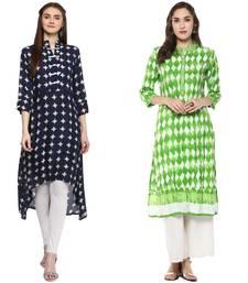 green and blue rayon combo kurti