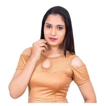 Lycra Copper Cold Shoulder Short Sleeves Stretchable Princess Cut blouse