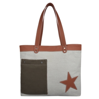Starry Off-white Canvas Shoulder Bag