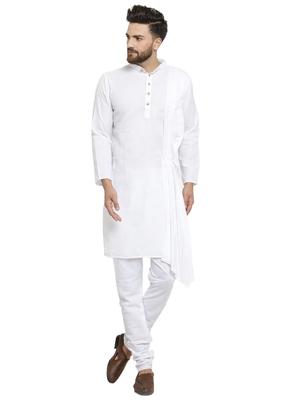 White Plain Linen Kurta Pajama