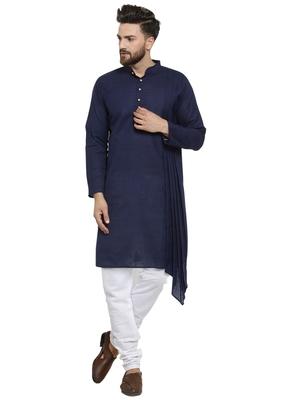 Blue plain linen kurta-pajama
