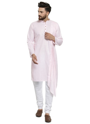 Designer Pink Linen Kurta With Churidar Pyjama For Men By Treemoda