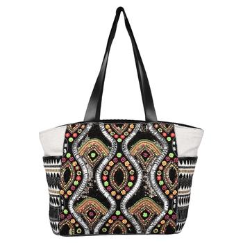 Nava Black Jacquard Tote Bag