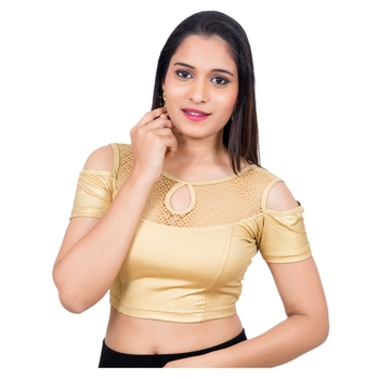 Lycra Gold Cold Shoulder Short Sleeves Stretchable Princess Cut blouse