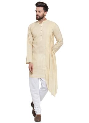 Beige Plain Linen Kurta Pajama