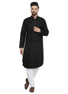 Black plain linen kurta-pajama