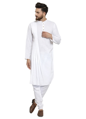 White plain linen kurta-pajama