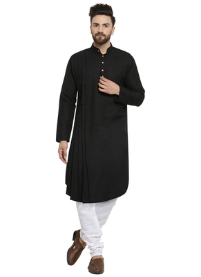 Black Plain Linen Kurta Pajama