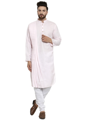 Designer Pink Linen Kurta With Churidar Pyjama For Men By Treemoda