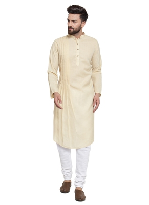 Beige plain linen kurta-pajama