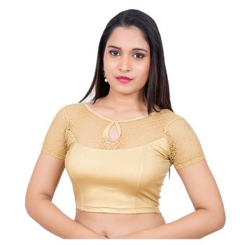 Gold Short Net Sleeves Lycra Princess Cut Stretchable blouse