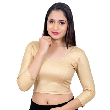 Gold 3/4 Sleeves Lycra Princess Cut Stretchable blouse