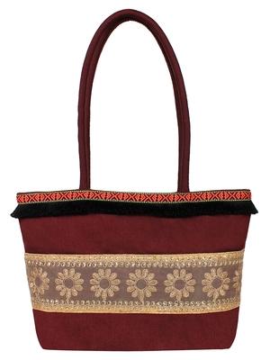 Mesh Brown Art Silk  Shoulder Bag