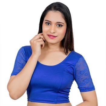 Royal blue Short Net Sleeves Lycra Princess Cut Stretchable blouse