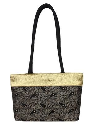 Ambi Black & Beige Art Silk Jacquard Shoulder Bag