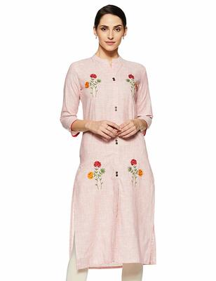 Light-pink embroidered cotton party-wear-kurtis