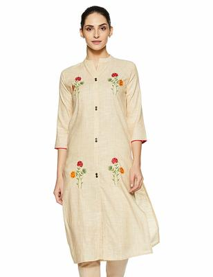 Light-yellow embroidered cotton party-wear-kurtis