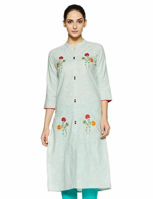 Sky-blue embroidered cotton party-wear-kurtis