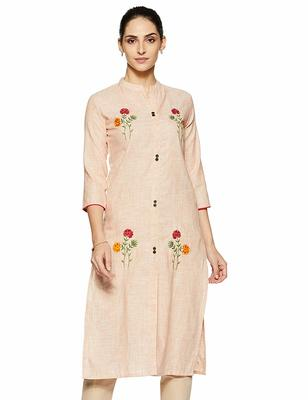 Light-orange embroidered cotton party-wear-kurtis
