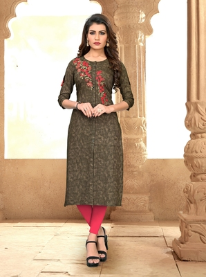 Multicolor embroidered rayon party-wear-kurtis